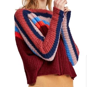 NWT Free People See The Rainbow Sweater Large